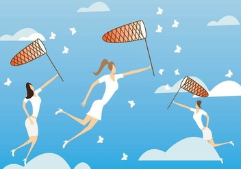 Women Catching Butterflies with Net Vector - vector #445831 gratis