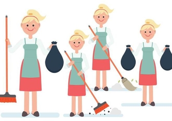 Women Character Vectors Cleaning Up - Free vector #445841