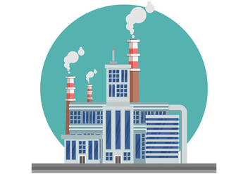 Industrial Landscape With Smoke Stack Vector Illustration - Free vector #445881