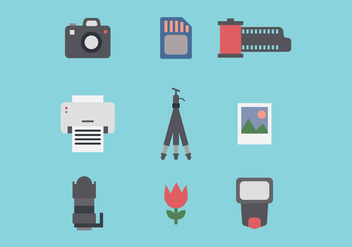 Set Of Photography Flat Icons - Free vector #446021