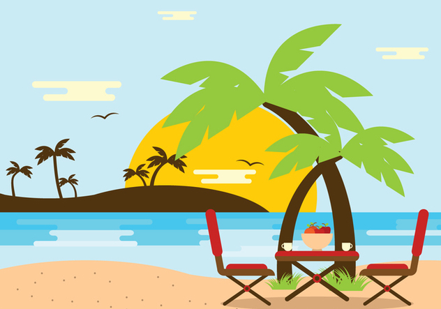 Beach Scene with Chair Vector - бесплатный vector #446031