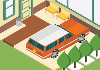 Isometric Station Wagon Parked at Home Vector - Free vector #446051
