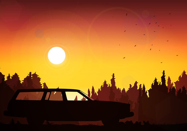 Station Wagon Silhouette Sunset Free Vector - бесплатный vector #446061