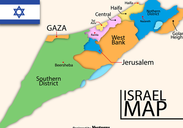 Vector High Detailed Map Of Israel - vector #446291 gratis
