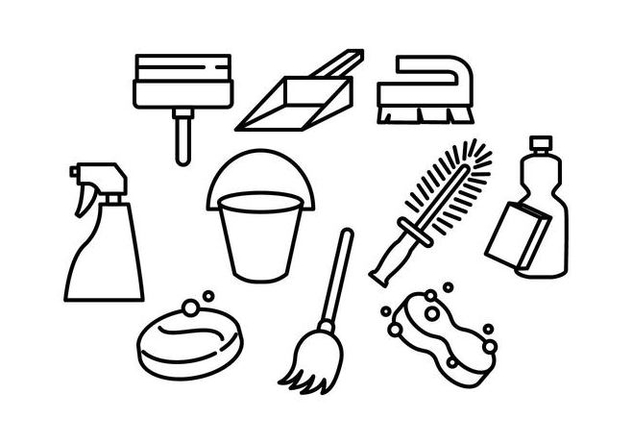 Free Cleaning Tools Line Icon Vector - Free vector #446341