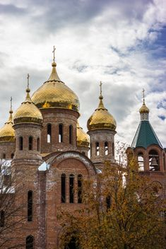 Golden domes of church - Free image #448191