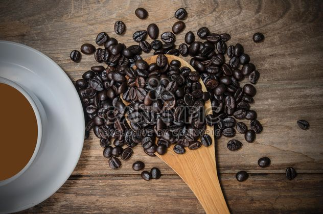 Cup of coffee and roasted coffee beans in spoon - image gratuit #452451