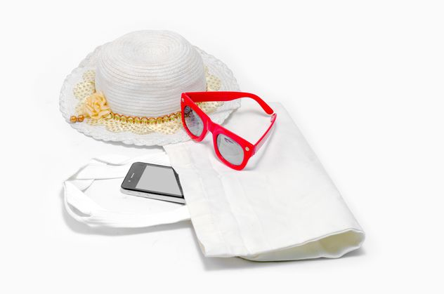 Hat, glasses and smartphone over white background - image #452461 gratis