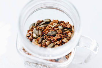 Homemade granola in a jar. Healthy food. - Free image #454441