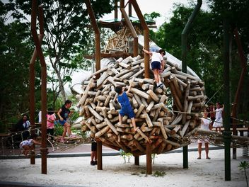 fun day @ redeveloped jurong lake gardens - wood climbing - Free image #460581