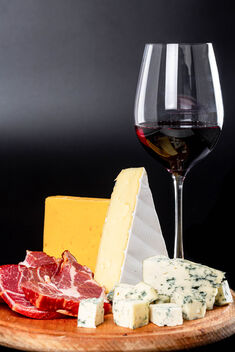 Delicious appetizer and glass of red wine - Free image #475901